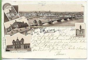 Vorl. AK, Gruss aus Mainz 1895, Litho. , um 1890/1900  Verlag: Wilh. Schütz, Eisenach, POSTKARTE,  mit Frankatur, mit St