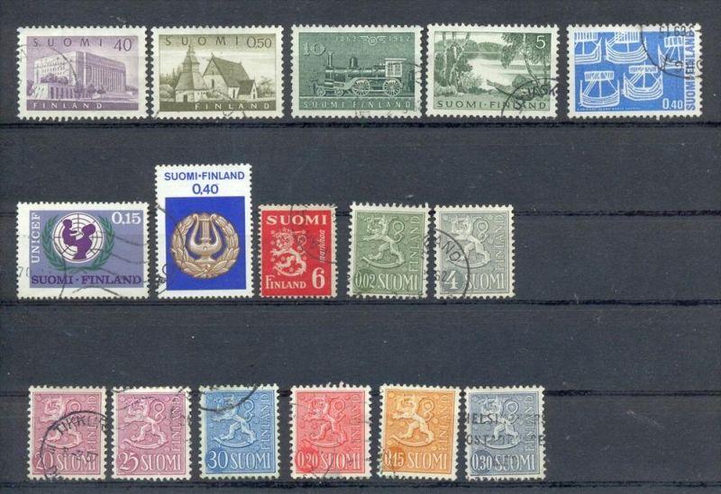Finnland, Konvol. Briefmarken 16 Stck. Gestempelt, zustand: Gut