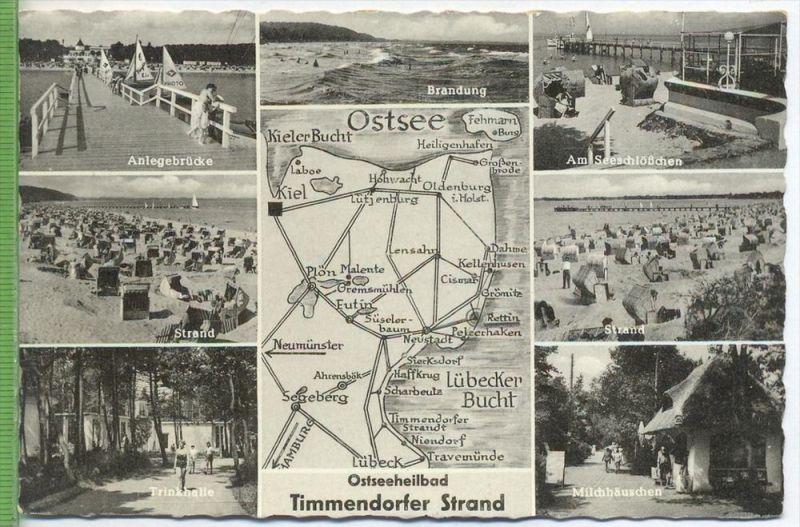 Ostseeheilbad, Timmendorfer Strand 1950/1960 Verlag: Lagerbauer & Co. , POSTKARTE mit Frankatur, mit Stempel, Timmendorf