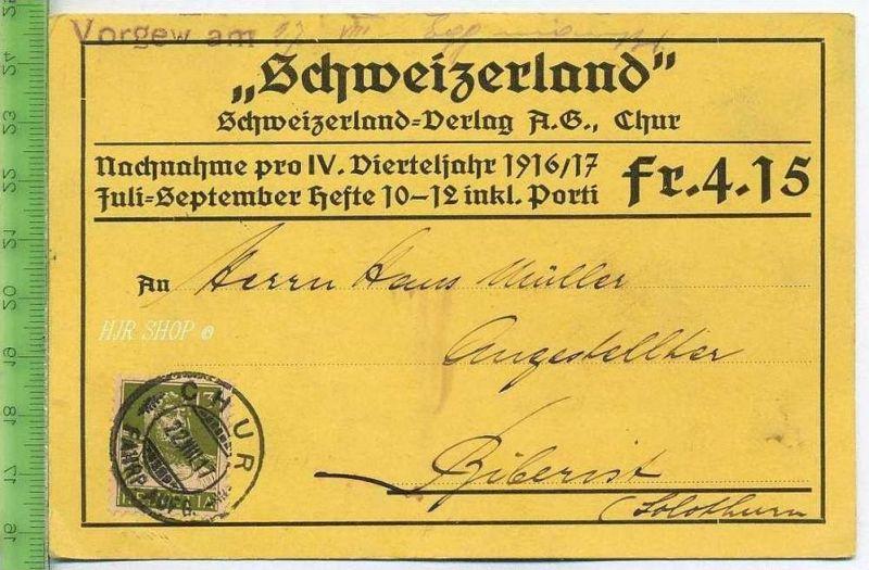 """Postkarte, """"Schweizerland"""", Gel. 22.08.1917/Chur"""