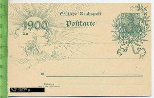 Deutsche Reichspost, Postkarte 1900, 5 Pf. Germania grün