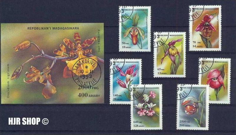 1993 Madagaskar, Satz 7 W gestempelt, auf Steckkarte