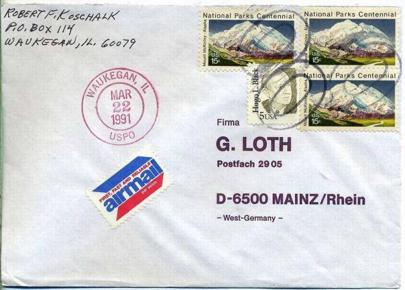 Luftpost-Brief, 22.03.1991, WAUKEGAN, IL – Mainz,