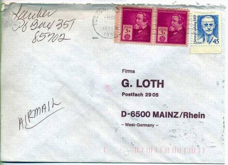 Luftpost-Brief, 14.02.1991, TOCSON, AZ – Mainz,