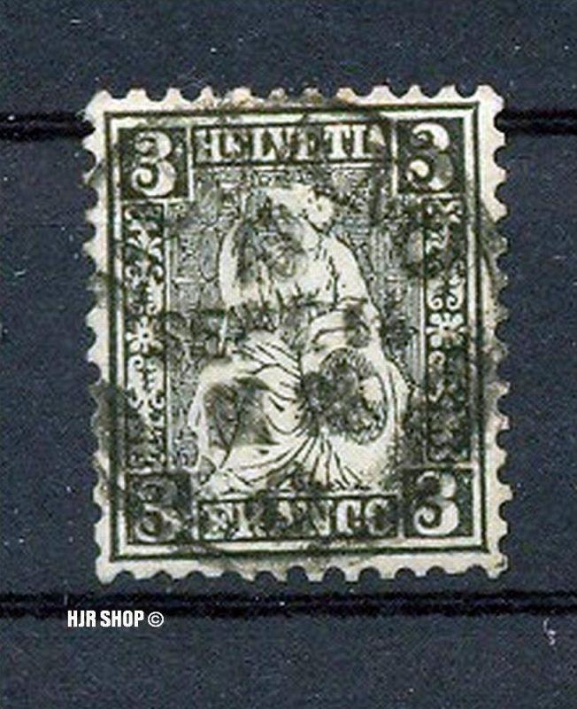 1862 Schweiz 3 C schwarz mit Kontrollzeichen