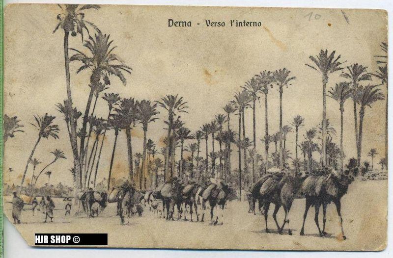 """um 1910/1920 Ansichtskarte  """"Derna"""",  gelaufene Karte mit Stempel"""
