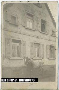 Mann und Pferd vor einem Haus