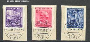 1943, Böhmen und Mähren, Wagner, MiNr.128-130  Satz 3 W, alle Werte auf Briefstück, sauber gest