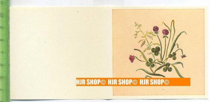 Kaufmannsbild. 1940/1950,  Sammelbild 16 x 7,5 cm,  Blumenfaltkärtchen