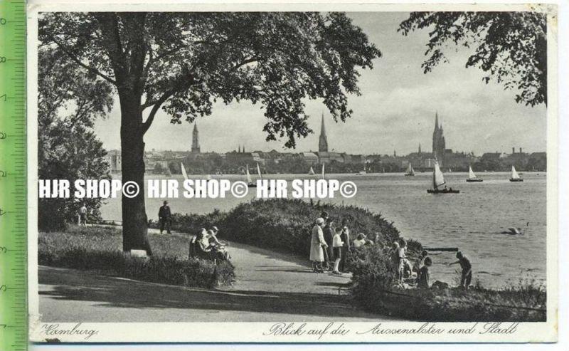 """""""Hamburg, Blick auf die Außenalster und Stadt"""" um 1930/1940 ungebrauchte Karte"""