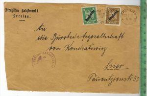 Bedarfsfrankatur, Breslau 20.9.1927,MiF Minr. 105+106Briefsausschnitt 18 x 12 cmOhne Prüfung, ohne Oblogio.Zustand: gut