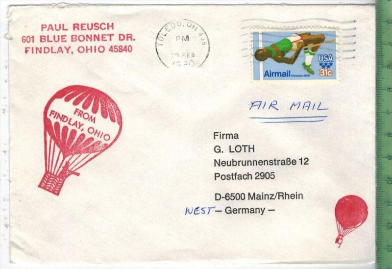 Bedarfsfrankatur, Toledo. OH. 20.FEB. 1980 EF Minr. Brief 18,3 x 9 cmOhne Prüfung, ohne Oblogio.Zustand: gut