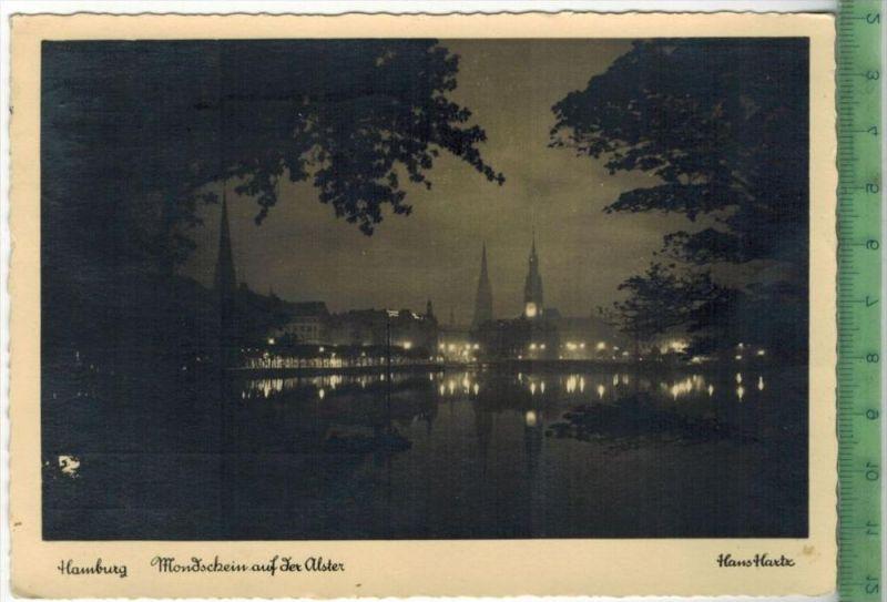 Hamburg, Mondschein auf der Alster 1949Verlag: Hans Andres, Hamburg,- POSTKARTEFrankatur,  Stempel, HAMBURG  24.5.49Maße