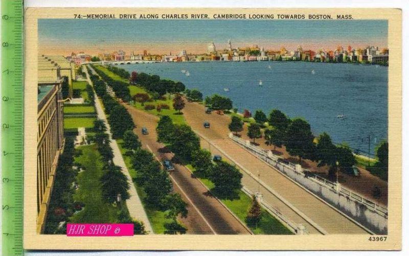 74:-Memorial Drive Along Charles River.  Cambridge Looking Towards Boston, mass. Gel. 3.07.1941 / Boston, Mass.