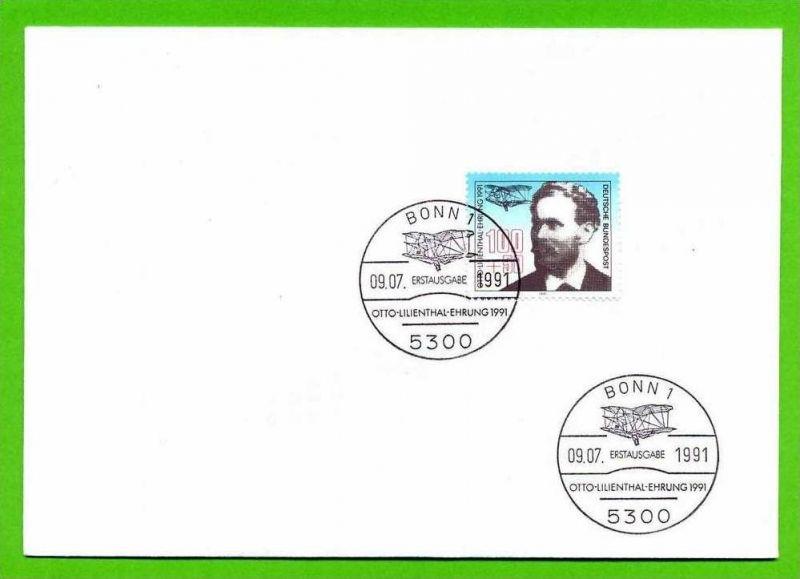 1991, 9. Juli. BlockausgabeEuropäische Luftpostausstellung Lilienthal, 1543**, Block 24, FDC, 1543 Gest.