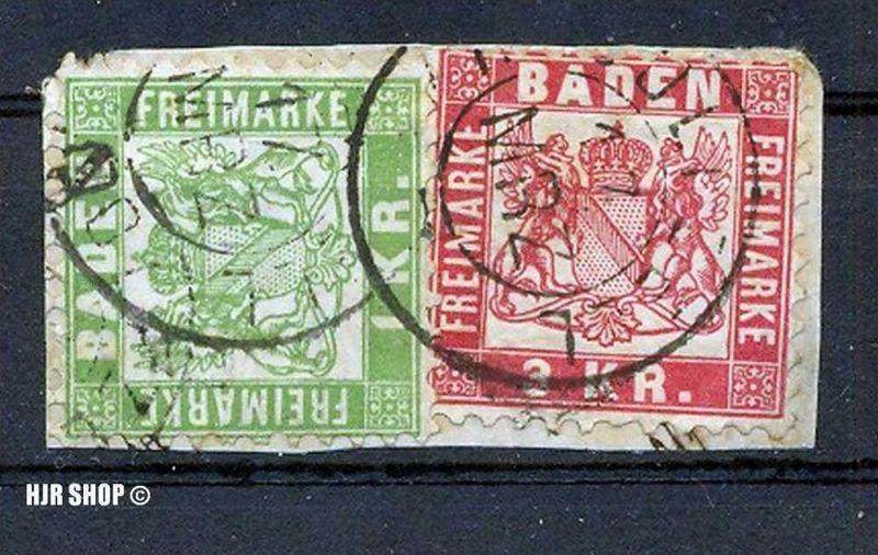 1868, 1. Okt. Freimarken: Wappen, Minr.23,24, 1 KR. 3 KR., gest. auf Briefstück
