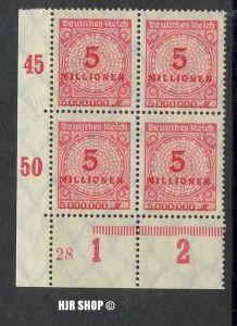 1923. 9,Okt/24.Nov. Rosetten-Muster I,  MiNr.317A**  4er Block mit Seitenrand, Zust. Gut