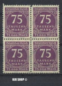 1923.15./20. Sept.. Ziffern im Kreis,  MiNr.276**  4er Block , Zust. Gut