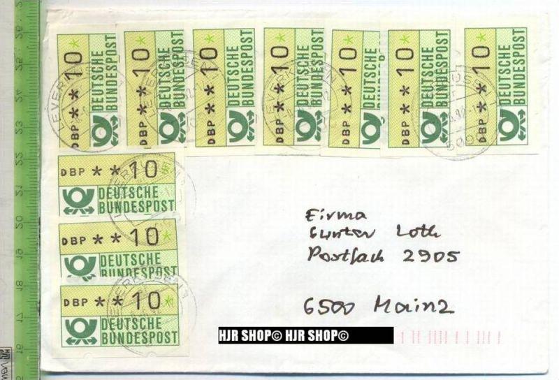 1981, 10 x  10 Pf. Automatenmarken auf Brief, MiNr. 1 Type II