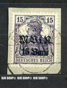 1917, Briefstück, Deutsche Militärverwaltung in Rumänien, Geänderter Aufdtuck, MiNr 5b gest., Bukarest