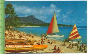 """""""Waikiki Beach """", um 1960/1970   Ansichtskarte  ungebrauchte Karte"""