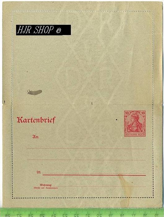 Kartenbrief, Deutsches Reich 10 Pf, rot,  Postfrisch, WZ DVR 0