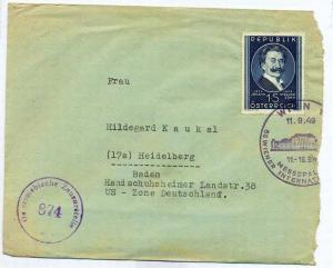 Zensurpost 1 x  Beleg mit österreichischer  Zensur. 11.09.1949