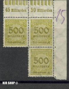 1923.9. Okt./24. Nov..Rosetten-Muster I,  MiNr.324A**  3er Block mit Seitenrand, Zust. Gut