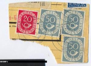 1951, 20. Juni/1952, 16. April. Posthorn, 1 x 130 gest, 3x 134 gest, als Bedarfspost gelaufen, 13.01.1953, Zustand: Gut