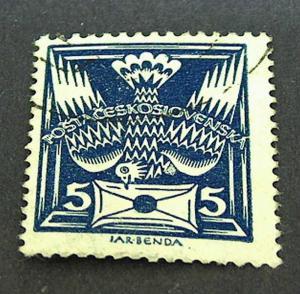 AH-Tschechoslowakei, Taube mit Brief, blau, 5 Hella. 1920 Gest.