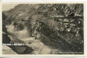 """um 1920/1930 Ansichtskarte,  """"Schöllenenbahn mit Reußfall""""  ungebrauchte Karte"""