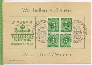 1946, Wir helfen aufbauen WALLDORF/WERRA. 4er Block MiNr.915 gest. mit Sonderstempel WALLDORF/WERRA 2.11.1946, 1000 Jahr