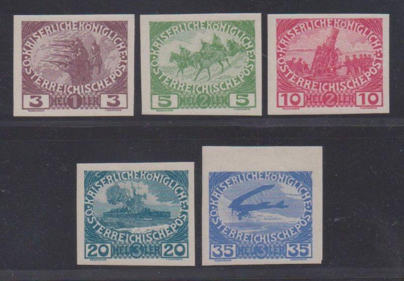 Österreich 1915 Nr 180 U - 184 U Kriegswaisen ungezähnt ungebraucht ANK € 610,--