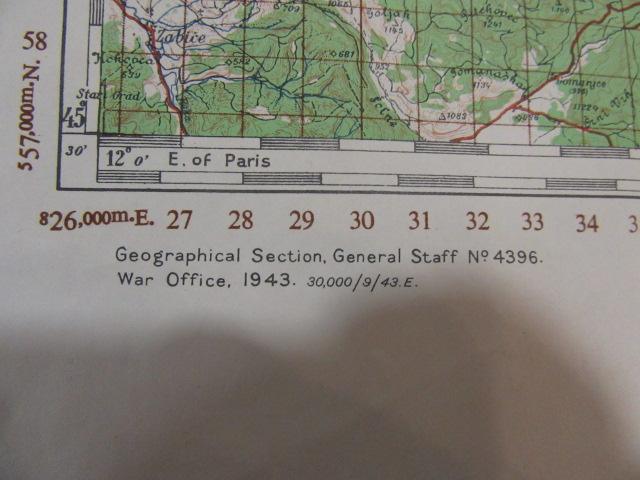 Original Original US-Karte des Zweiten Weltkriegs 1943. 2