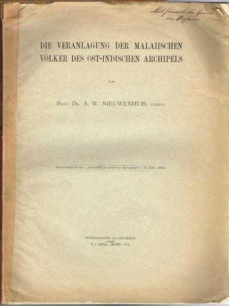 A. W. Nieuwenhuis: Die Veranlagung der Maleiischen Völker des Ost-Indischen Archipels.