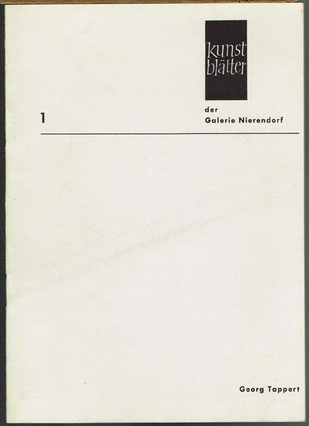 Georg Tappert. Kunstblätter der Galerie Nierendorf Nr. 1.