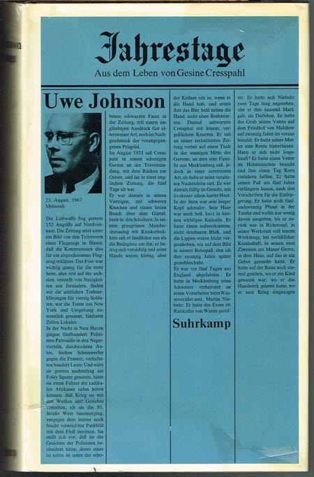 Uwe Johnson: Jahrestage. Aus dem Leben von Gesine Cresspahl. Band 1.