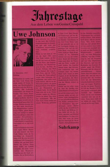 Uwe Johnson: Jahrestage. Aus dem Leben von Gesine Cresspahl. Band 2.