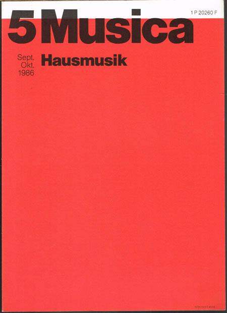 Musica. Zweimonatsschrift. 40. Jahrgang 1986, Heft 5 September/Oktober. Hausmusik.