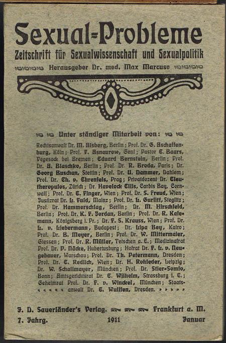 Sexual-Probleme. Zeitschrift für Sexualwissenschaft und Sexualpolitik. Herausgeber Dr. med. Max Marcuse. 7. Jahrgang, Januar bis Dezember 1911 in 12 Heften.
