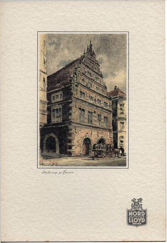 """Speisekarte. Gabelfrühstück am Dampfer """"Bremen"""", Sonnabend, den 21. September 1935. Touristen-Klasse."""