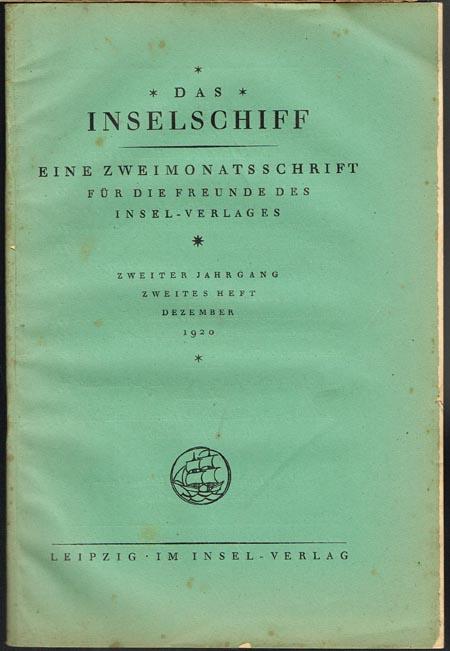 Das Inselschiff. Eine Zweimonatsschrift für die Freunde des Insel-Verlages. Zweiter Jahrgang, Zweites Heft, Dezember 1920.