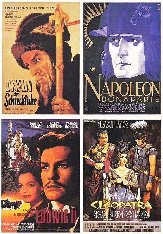 4 Ansichtskarten mit historischen Filmplakaten
