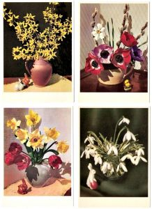 4 Karten mit österlichen Frühlingsmotiven um 1950