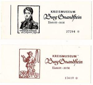 2 x Eintrittskarten Kreismuseum Burg Gnandstein