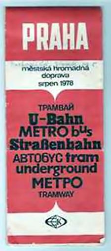 Karte von Prag mit seinen Bahnen von 1978