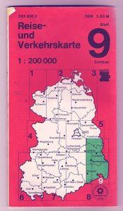 Reise - und Verkehrskarte Cottbus, 1980