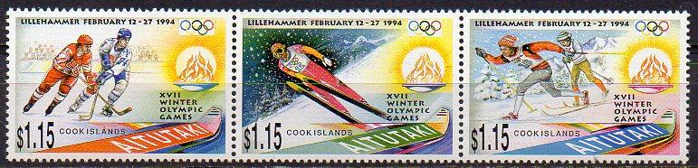 Aitutaki, Mi-Nr. 713 - 715 **, ZD, kompl., Olympische Winterspiele Lillehammer 1994
