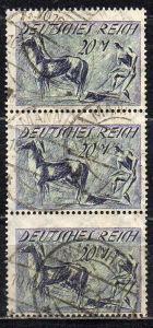 Deutsches Reich, Mi-Nr. 196 gest., senkrechter 3´er-Streifen, WZ 2 Waffeln, Pflüger