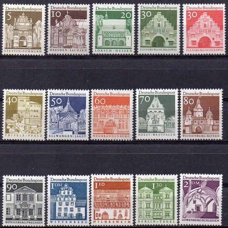 BRD, Mi-Nr. 489 - 503 **, kompl., DS Deutsche Bauwerke aus zwölf Jahrhunderten